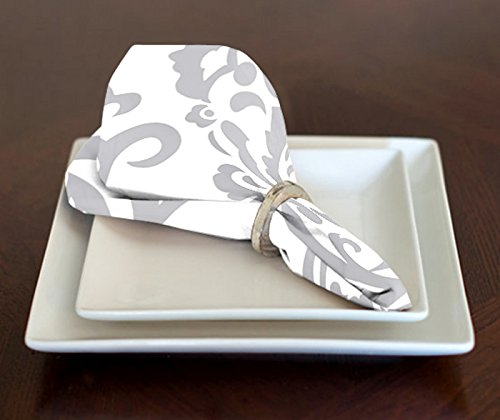 A LuxeHome Grey and White Elegant Damask Lunch Dinner Napkins 17