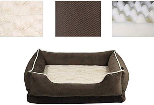 プラスベルベット犬マット冬暖かい非スティックヘアペットハウスリビングルームベッドルームバルコニーユニバーサルキャットハウス (色 : Brown+sponge pad, サイズ さいず : 60×46×17cm)
