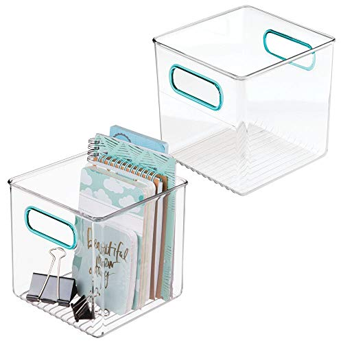 mDesign Plastic Home, Office Storage Organizer Container with Handles for Cabinets, Drawers, Desks, Workspace - BPA Free - for Pens, Pencils, Highlighters, Notebooks - 6