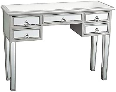 Mirrored Console Table,Mirrored Makeup Vanity Table Desk, 5 Drawer Media Console Table for Women Home Office Writing Desk Smooth Finish 5 Drawers