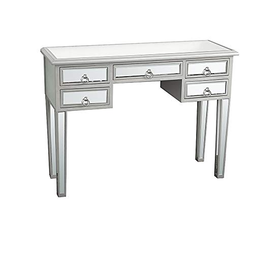 SSLine Mirrored Makeup Desk Vanity Dressing Table with 5 Drawers Deluxe Modern Glass Entryway Console Table Writing Desk