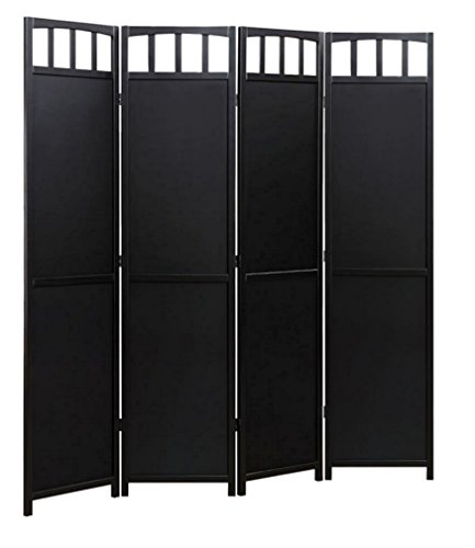 Legacy Decor 4 Panel Solid Wood Room Screen Divider Black (Black Room Divider)