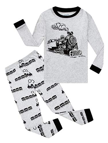 Family Feeling Train Little Boys Long Sleeve Pajamas Sets 100% Cotton Pyjamas Toddler Kids Pjs Size 3T Grey -