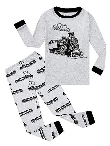 Family Feeling Train Little Boys Long Sleeve Pajamas Sets 100% Cotton Pyjamas Toddler Kids Pjs Size 4T Grey