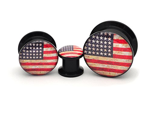 (Mystic Metals Body Jewelry Black Acrylic American Flag Picture Plugs - Sold as a Pair (00g (10mm)))