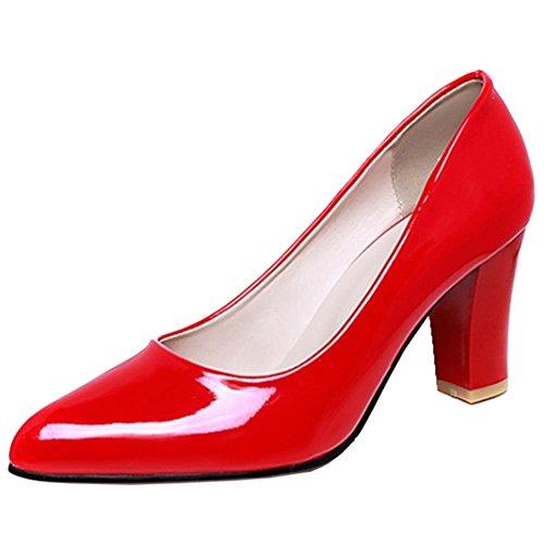 Coolcept Femmes Chaussures Talons Hauts Escarpins Pointu de Travail Rouge BNjdhBSmSA