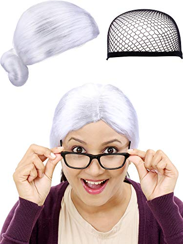 Boao Christmas Wig and Wig Cap Old Lady Wig Synthetic Halloween Hair Wig Santa Costume Wig for Cosplay Party Supplies (Adult Size, White Wig) -