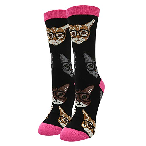 Women's Novelty Crazy Smarty Cats Cute Kitty with Glasses Cotton Crew Socks