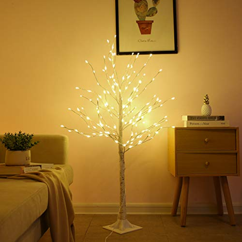 Lighted Birch Tree, 4 Feet 160L LED Christmas Decorations Lighted Tree for Home, Party, Festival and Outdoor Use, UL Listed, Warm White (Topiary Lights With Tree)