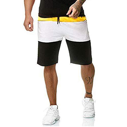 KLGDA Men's Stitching Multi-Pocket Tooling Shorts Drawstring Pockets Casual Pants ()