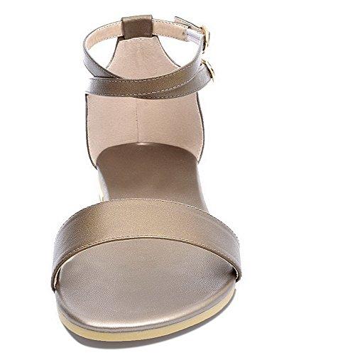 Cuir Sandales Talon d'orteil Unie à AgooLar PU GMBLA012228 Ouverture Femme Doré Bas Couleur w6vnFE