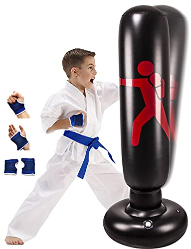 """Inflatable Kids Punching Bag with Stand, Kickboxing Freestanding Punching Bags for Kids&Adults, 63"""" Portable Weighted…"""