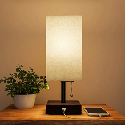 Lavish Home Rectangle Lamp with Wood Base-Modern Desk Light LED Bulb Included, USB Port for Living Room, Bedroom, Office