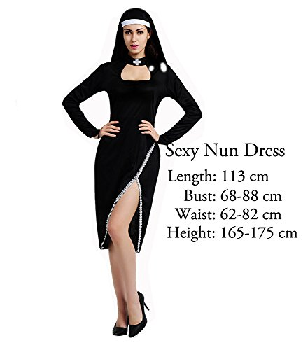 [O-O Cosplay Halloween Costume Madonna Pastor Jesus Pope Nun Stage Cosplay Costume (Sexy Nun Dress)] (Child Nun Costumes)
