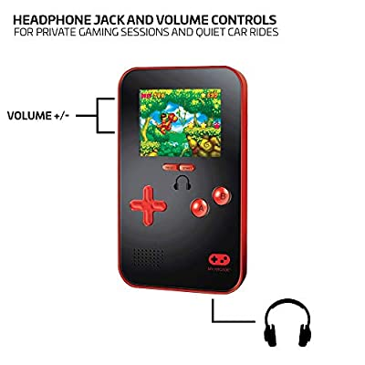 My Arcade Go Gamer Portable - Handheld Gaming System - 220 Retro Style Games - 16 Bit High Resolution - Battery Powered - Full Color Display - Volume Buttons - Headphone Jack - Red: Video Games