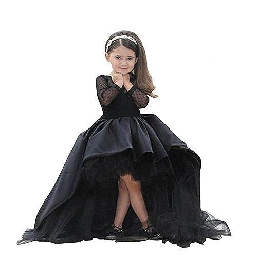 Helen Flower Girls Dress Wedding Kids Hi-lo Ball Gown for Baby Tollder Black 110
