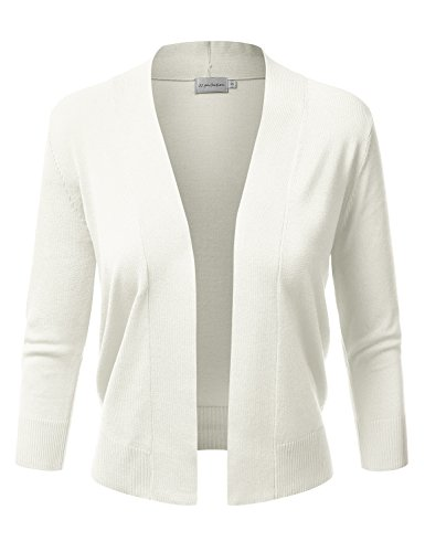 JJ Perfection Women's Basic 3/4 Sleeve Open Front Cropped Cardigan Ivory L (Ribbed Open Cardigan)
