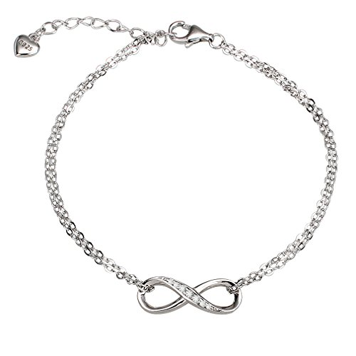 2in Sterling Silver Logo Pendant - Casoty 925 Sterling Silver Love Infinity Double Strand Adjustable Chain Bracelet, Heart Pendant, Silver