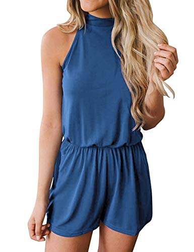 avakess Women's Summer Casual Loose Halter Neck Shorts Elastic Waist Solid Color with Pocket Jumpsuits Rompers Blue ()