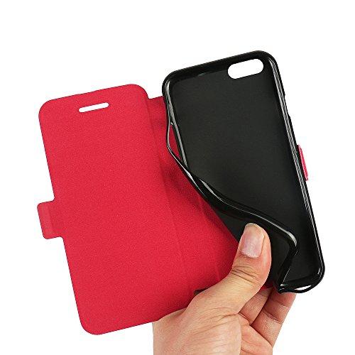 Coque iPhone 6s, Coque iPhone 6, MTRONX Case Cover Etui Housse Cas Couverture Ultra Slim Folio Flip Magnetic PU Cuir Doux TPU Sergé Soutien étagère pour Apple iPhone 6s, iPhone 6 - Rouge (MS-RD)