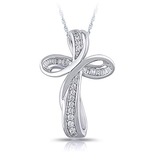 Vibgyor Designs Sterling Silver 1/10 Carat Round and Baguette-Cut (I-J Color, I2-I3 Clarity) Natural Diamond Pendant Necklace for Women ()