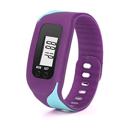 Lavany Fitness Tracker Watch,Pedometer Watch Digital LCD Pedometer Simple Step Counter Walking 3D Pedometer Calorie Counter Watch Bracelet for Kids Adult (Purple)