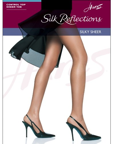 - Hanes Silk Reflections Silky Sheer Control Top Sandal Foot - Little Color, G/H
