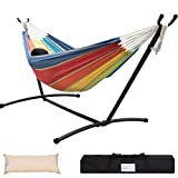 Lazy Daze Hammocks Double Hammock with Space Saving Steel Stand Includes Portable Carrying Case and Head Pillow, 450 Pounds Capacity (Lime&Orange Stripe)
