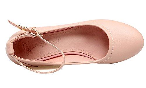 VogueZone009 Women's Solid PU Kitten-Heels Buckle Round-Toe Pumps-Shoes Pink wpYeg