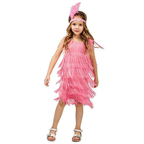 DSplay Kids Girl's Fashion Flapper Satin Dress Costume (M, Pink)]()