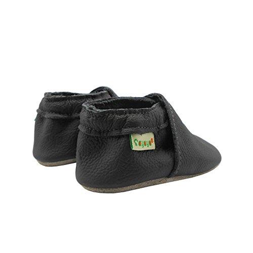 Sayoyo Suaves Zapatos De Cuero Del Bebé Zapatillas Gris Oscuro