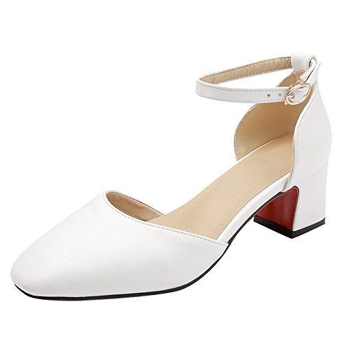 Charm Foot Womens Elegant Ankle Strap Mid Heel Chunky DOrsay Shoes White pSSeR