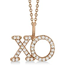 14k Gold Diamond XO Hugs and Kisses Pendant Necklace Pave Set For Women