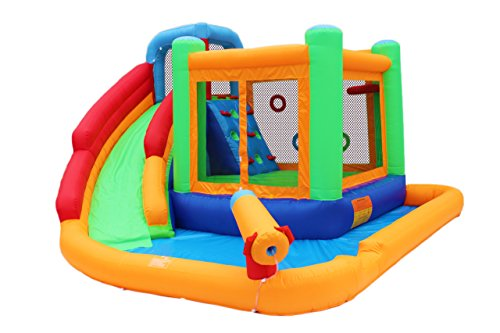 - BestParty Inflatable Spin Combo Jumper Bounce House and Water Slide Combo with Blower for Kids