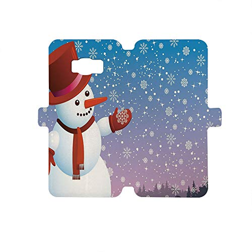 (Painted Galaxy S8 Case - Premium Protective Cover Phone Cases for Girls,Snowman,Cartoon Happy Snowman Looking at The Snowflake ICY Winter Scenery Evergreen Woods Decorative,Multicolor)
