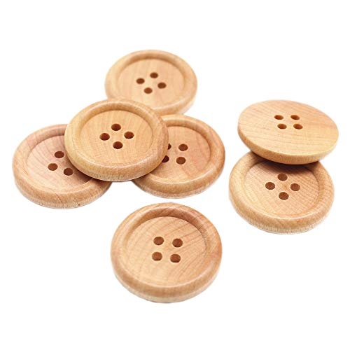 YaHoGa 30pcs 25mm (1 inch) Wood Buttons Natural Wooden Buttons for Sewing Children Sweater Crafts Bulk