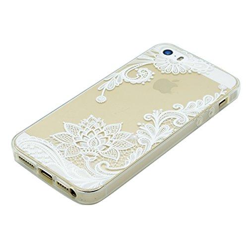 CaseforYou für iPhone SE 5SE 5 5S Hülle Air-Cushion Kantenschutz Technologie - Bumper Case durchsichtige Rückschale und TPU-Bumper Weiche Silikon Schutzhülle, Lace Flower