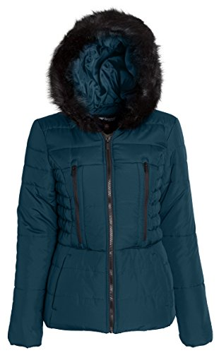 Sportoli Junior Women's Rouched Detail Winter Coat Hooded Short Puffer Jacket (Evergreen/L)