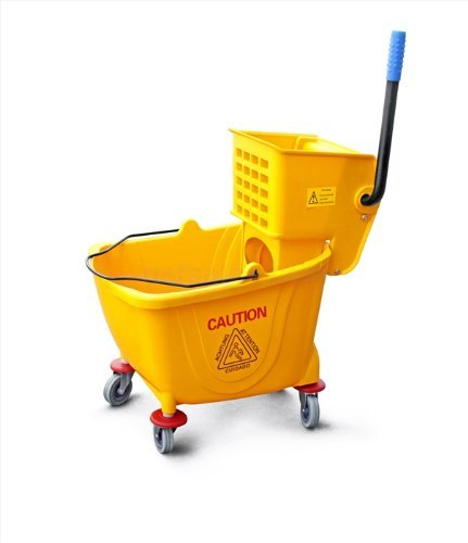 Foodservice Essentials MBK-9 9-Gallon Wringer Mop Bucket with Casters, Yellow