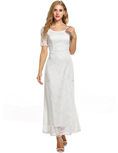 ANGVNS Women's Full Lace Solid Short Sleeve Elegant Wedding Maxi Dress, White, Small