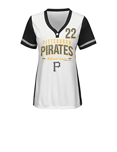 MLB Pittsburgh Pirates Women's Rugged Competitor Pull Over Color Block Name & Number Player Jersey, X-Large, White/Black