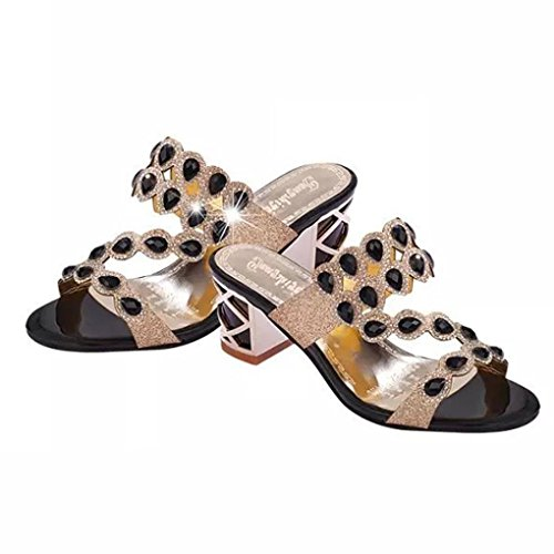 MMLC Women's Summer Fashion Big Rhinestone High Heel Sandals Ladies Beach Sandal Black csM2Rj