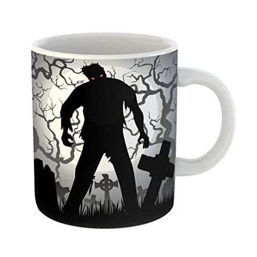 Emvency Coffee Tea Mug Gift 11 Ounces Funny Ceramic Monster Halloween Zombie Tree Tombstones and the Moon Cemetery Silhouette Gifts For Family Friends Coworkers Boss Mug -