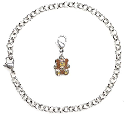 """2 PC SET: Adjustable 8.5"""" Stainless Steel Starter Charm Bracelet and Clip on Charm Mini Enamel Teddy Bear 2PB 40I by It's All About...You!"""