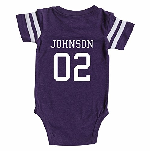 Custom Football Sport Jersey Baby Bodysuit Personalized with Name and Number (Newborn, Vintage Purple)]()