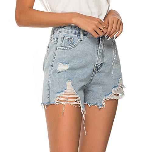 (Women's Denim Shorts, Mid Rise Jeans Short for Women Frayed Hem Stretch Ripped Hole Denim Shorts Pants by Dainzuy)