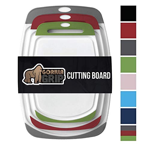 GORILLA GRIP Original Reversible Cutting Board (3-Piece), BPA Free, Dishwasher Safe, Juice Grooves, Larger Thicker Boards, Easy Grip Handle, Non-Porous, Extra Large (Set of Three: Gray, Red, Green)