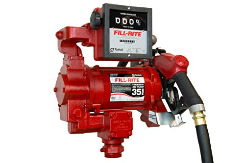 Fill-Rite FR311VB 115/230V 35 GPM Fuel Transfer Pump with Discharge Hose, Automatic Nozzle, & Mechanical Meter
