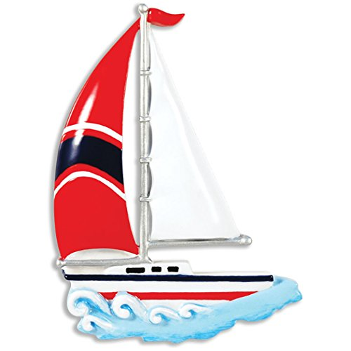 Personalized Sailboat Christmas Tree Ornament 2019 - Sailing Hits Water Wave Nautical Race Sport Hobby Coastal Drift Maritime Cutter Catboat Ketch Schooner Yawl Gift Year - Free - Schooner Race