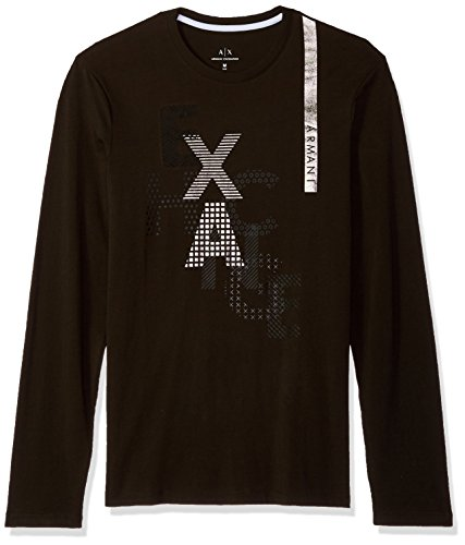 A|X Armani Exchange Men's LS Metallic AX Print Logo T-Shirt, Green, XL (Mens Green T-shirts Armani)